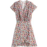 shop for Ruffle Wrapover Mini Dress in Floral Print at Shopo