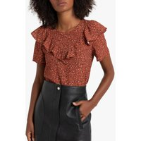 shop for Ruffled Floral Print Blouse with Short Sleeves at Shopo