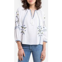 shop for Embroidered Blouse with Grandad Collar and Tassel Ties at Shopo