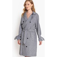 Oversized Houndstooth Check Linen Mix Trench