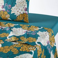 Peacock Blue Flat Sheet in Printed Cotton Percale