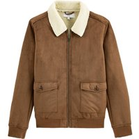 Faux Suede Aviator Jacket with Faux Sheepskin Lining