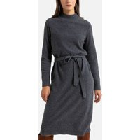 Wool Shift Jumper Dress with Long Sleeves
