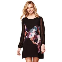 Floral Print Dress with Mesh Sleeves