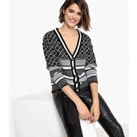 Two-Tone Jacquard Cardigan