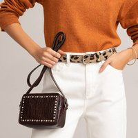 Leather Mini Camera Bag in Mock Croc with Studs and Shoulder