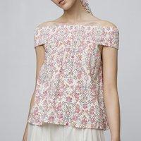 shop for Off-The-Shoulder Blouse in Floral Print at Shopo