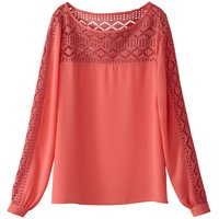 Dual Fabric Blouse with Lace Neckline and Sleeves