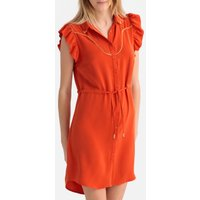 shop for Short Buttoned Shirt Dress with Ruffled Sleeves at Shopo