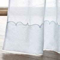 Sylva Gathered Header Single Voile Panel with Embroidered Hem