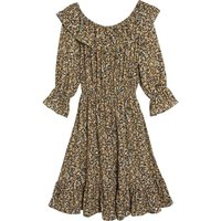 shop for Floral Print Mid-Length Dress with Long Sleeves at Shopo