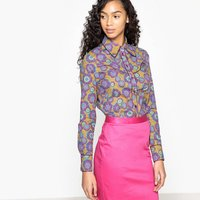 Floral Print Shirt with Polo Collar