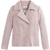 Short Double-Breasted Pea Coat in Jacquard Cotton Mix
