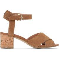 Suede Cork-Heel Sandal