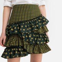 Mixed Polka Dot Print Ruffled Mini Skirt