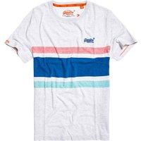 T-shirt bianco uomo T-shirt scollo rotondo maniche corte a righe
