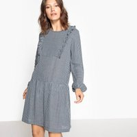 Flared Checked Dress with Ruffles