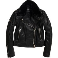 Leather Biker Jacket with Faux Fur Collar and Pockets