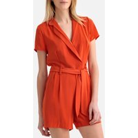 shop for Wrapover V-Neck Short-Sleeved Playsuit at Shopo