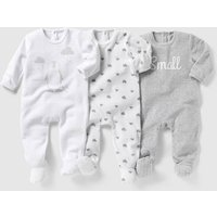 Pack of 3 Velour Sleepsuits, Birth - 3 Years
