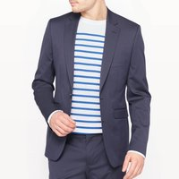 Fitted Single-Breasted Suit Jacket with Pockets