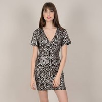 shop for Animal Print Sequined Dress with Short-Sleeves at Shopo