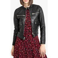 Short Leather Bomber Jacket with Pockets and Zip Fastening