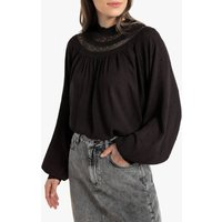 shop for Ruffled Laced High Neck Blouse with Long Sleeves at Shopo