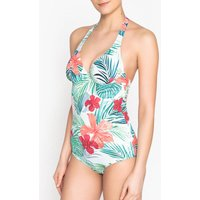Printed Halter-Neck Swimsuit