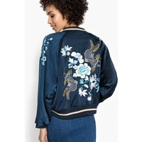 Satin Bomber Jacket with Batwing Sleeves