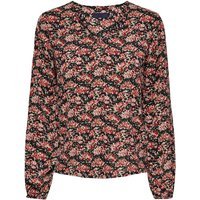 Floral Print Blouse with Round-Neck and Long Sleeves.