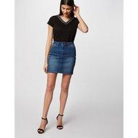 Denim Mini Skirt with Sequin Side Stripe