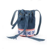 Suede Bucket Bag with Tribal Detail