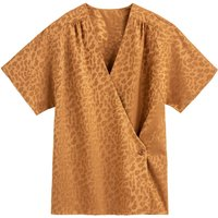 shop for Jacquard Leopard Print Blouse with Wrapover and Short Sleeves at Shopo
