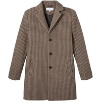 Wool Mix Straight Coat in Houndstooth Check