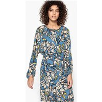 Short Printed Straight Dress with Long Sleeves