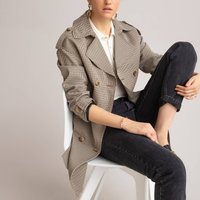 Checked Mid-Length Trench Coat