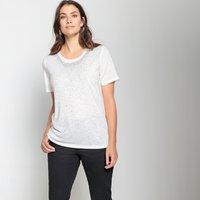 T-shirt Nero;ecru donna T-shirt scollo rotondo fantasia di strass
