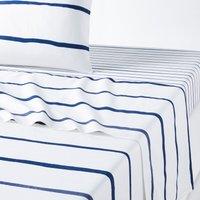 GLENANS Nautical Striped Cotton Flat Sheet