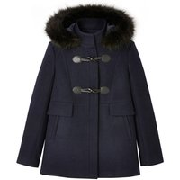 Hooded Duffle Coat with Faux Fur Trim and Pockets
