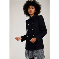 Short Buttoned Pea Coat in Wool Mix
