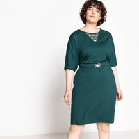 shop for Belted Straight Midi Dress with Lace at Shopo