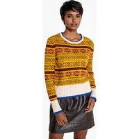 jacquard multicolore;jacquard bordeaux donna Pull scollo rotondo jacquard in misto lana