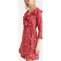shop for Floral Print Wrapover Dress with Tie-Waist at Shopo