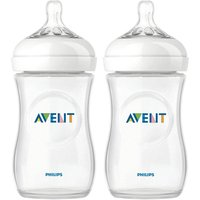 Set of 2 Natural 260ml Feeding Bottles