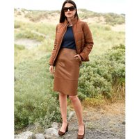 Leather Straight Mid-Length Skirt