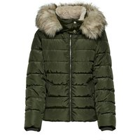 Short Puffer Jacket with Faux Fur Hood