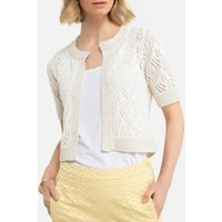 Cotton Mix Shrug with Crew Neck in Chunky Knit