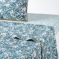 FOLIAGE Leaf-Print Cotton Percale Flat Sheet
