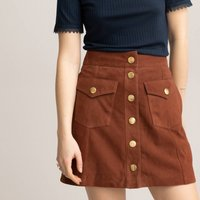 Suede Mini Skirt with Press-Stud Fastening